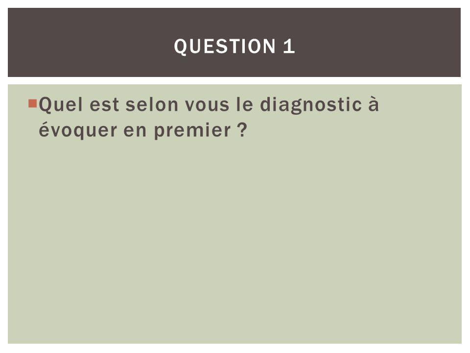 Question 1 Quel est selon vous le diagnostic à évoquer en premier