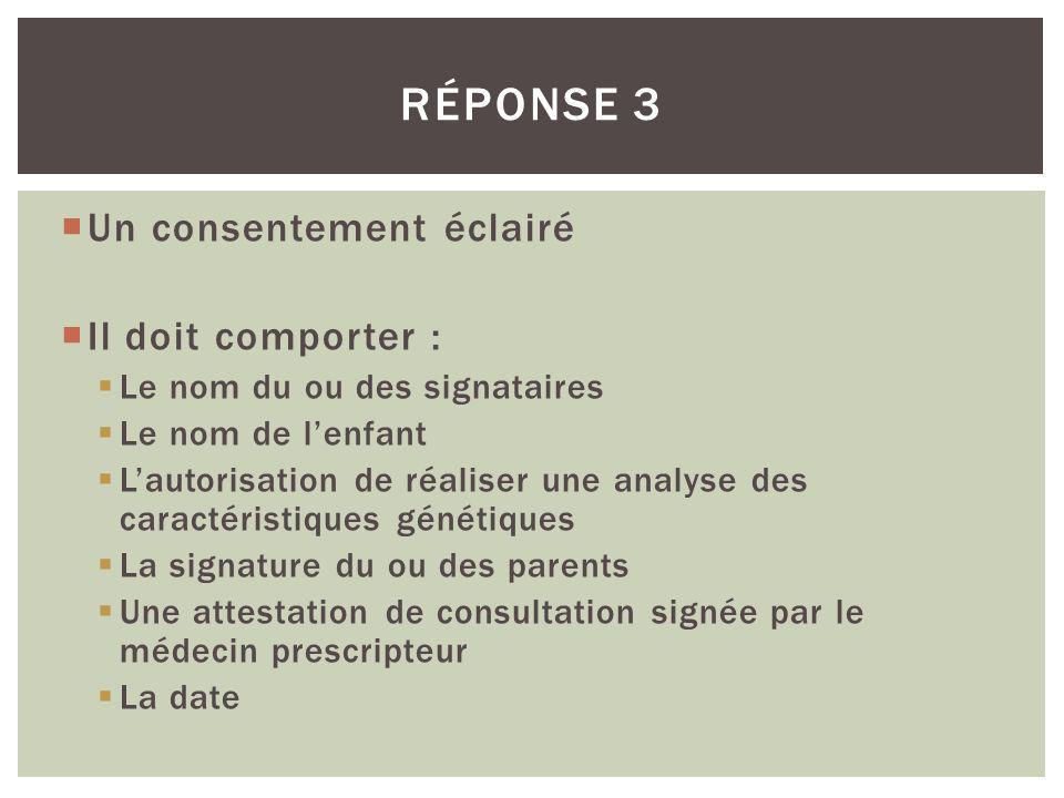 Réponse 3 Un consentement éclairé Il doit comporter :