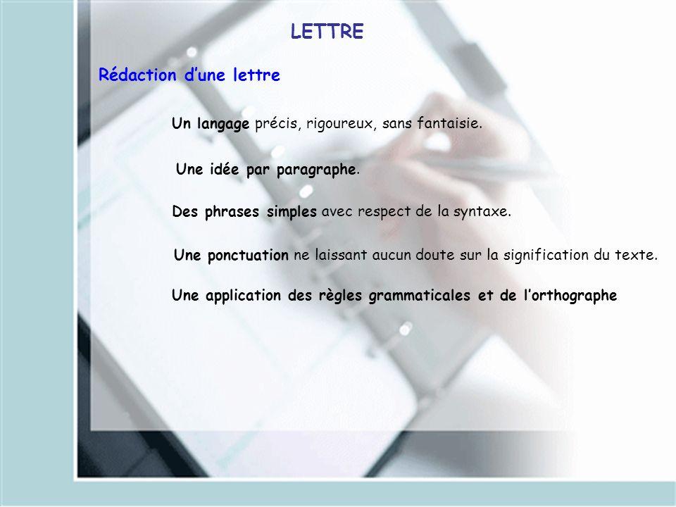LETTRE Rédaction d'une lettre