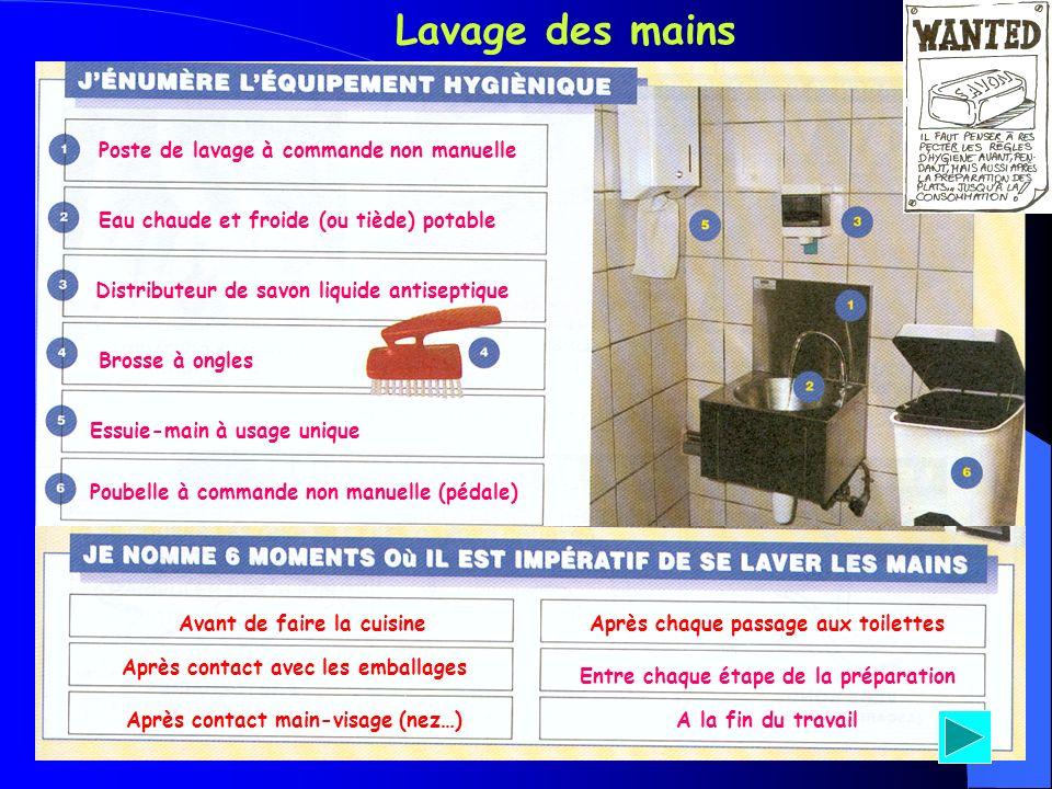 Lavage des mains Poste de lavage à commande non manuelle