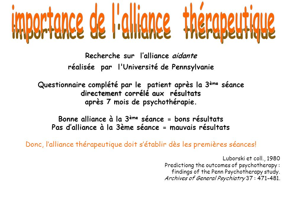 importance de l alliance thérapeutique
