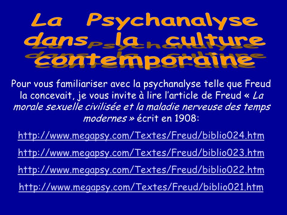 La Psychanalyse dans la culture contemporaine