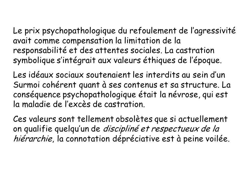 Le prix psychopathologique du refoulement de l'agressivité avait comme compensation la limitation de la responsabilité et des attentes sociales. La castration symbolique s'intégrait aux valeurs éthiques de l'époque.