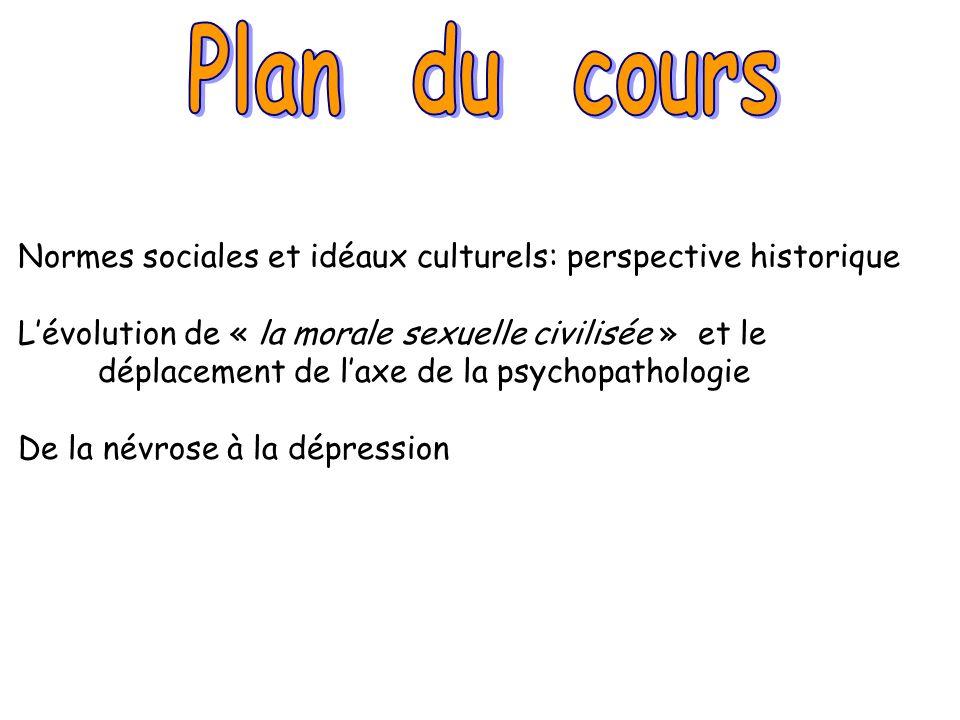 Plan du cours Normes sociales et idéaux culturels: perspective historique.