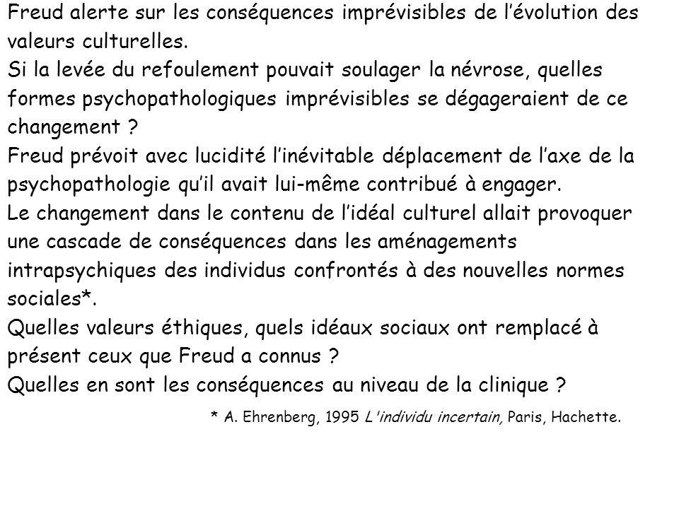 Freud alerte sur les conséquences imprévisibles de l'évolution des valeurs culturelles.