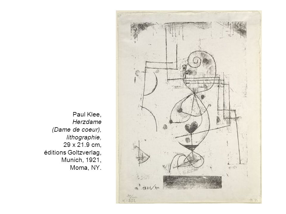 Paul Klee, Herzdame (Dame de coeur), lithographie, 29 x 21