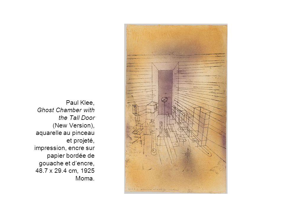 Paul Klee, Ghost Chamber with the Tall Door (New Version), aquarelle au pinceau et projeté, impression, encre sur papier bordée de gouache et d'encre, 48.7 x 29.4 cm, 1925 Moma.