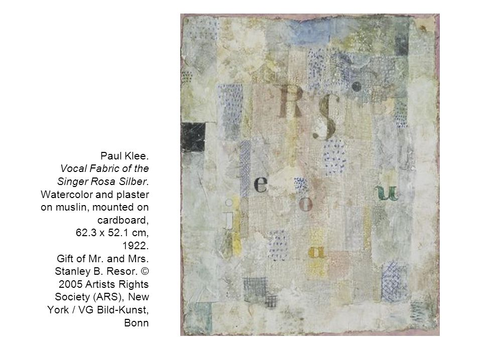 Paul Klee. Vocal Fabric of the Singer Rosa Silber