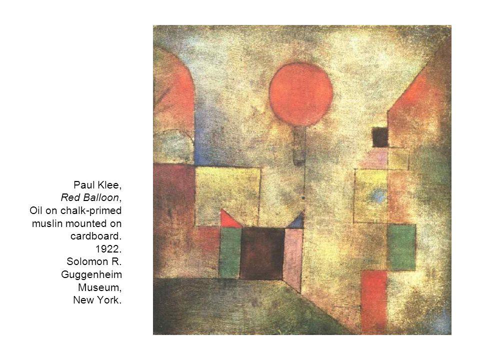 Paul Klee, Red Balloon, Oil on chalk-primed muslin mounted on cardboard.