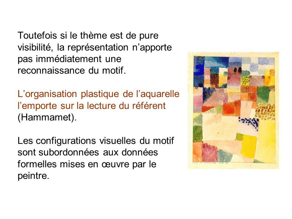 Toutefois si le thème est de pure visibilité, la représentation n'apporte pas immédiatement une reconnaissance du motif.