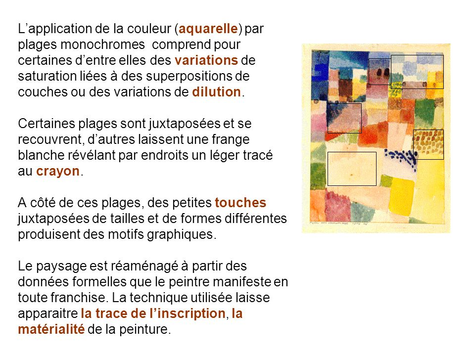 L'application de la couleur (aquarelle) par plages monochromes comprend pour certaines d'entre elles des variations de saturation liées à des superpositions de couches ou des variations de dilution.