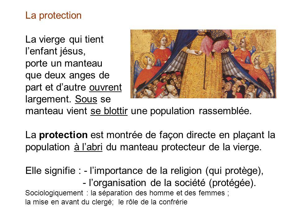 La protection La vierge qui tient l'enfant jésus, porte un manteau que deux anges de part et d'autre ouvrent largement.