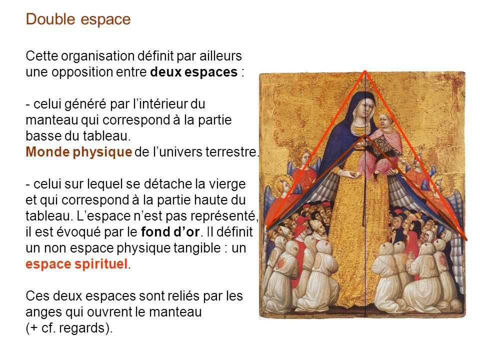 Double espace Cette organisation définit par ailleurs une opposition entre deux espaces : - celui généré par l'intérieur du manteau qui correspond à la partie basse du tableau.