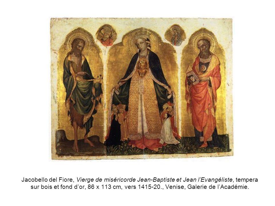 Jacobello del Fiore, Vierge de miséricorde Jean-Baptiste et Jean l'Evangéliste, tempera sur bois et fond d'or, 86 x 113 cm, vers 1415-20., Venise, Galerie de l'Académie.