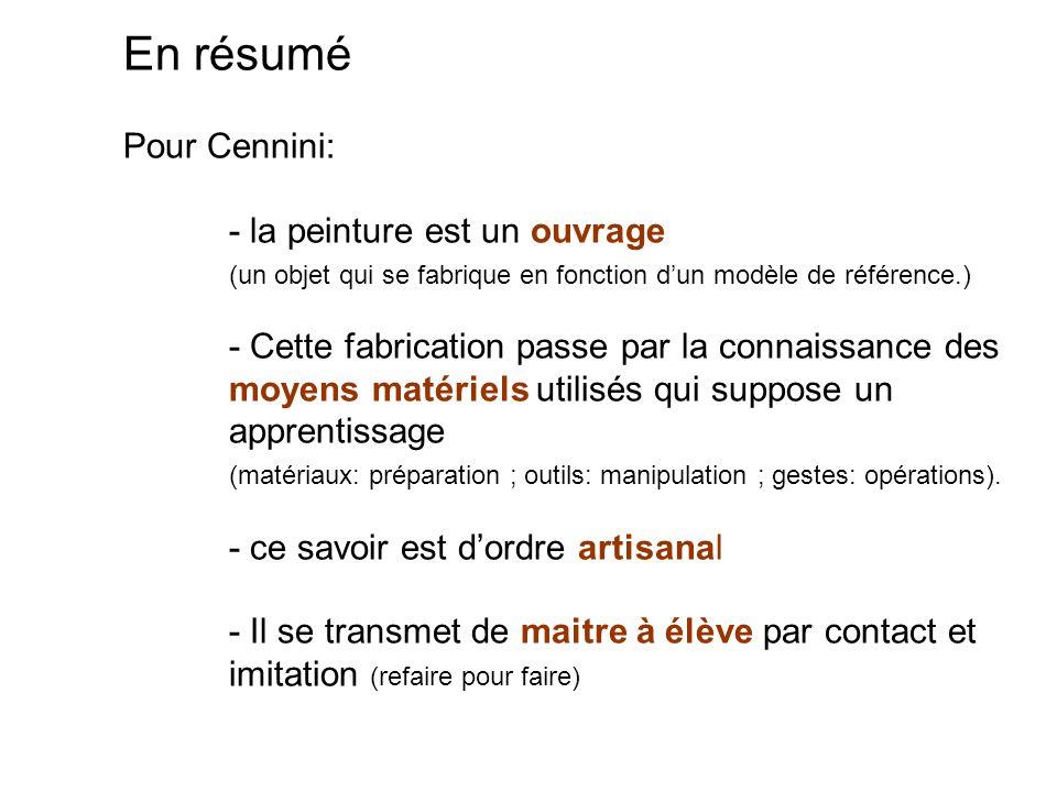 En résumé Pour Cennini:. - la peinture est un ouvrage