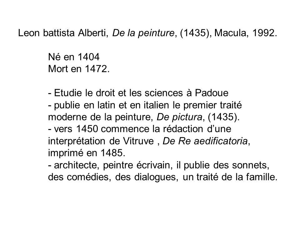 Leon battista Alberti, De la peinture, (1435), Macula, 1992.