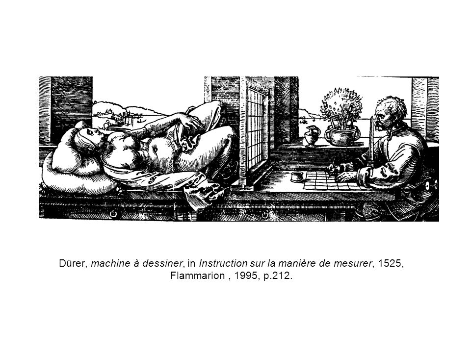 Dürer, machine à dessiner, in Instruction sur la manière de mesurer, 1525, Flammarion , 1995, p.212.