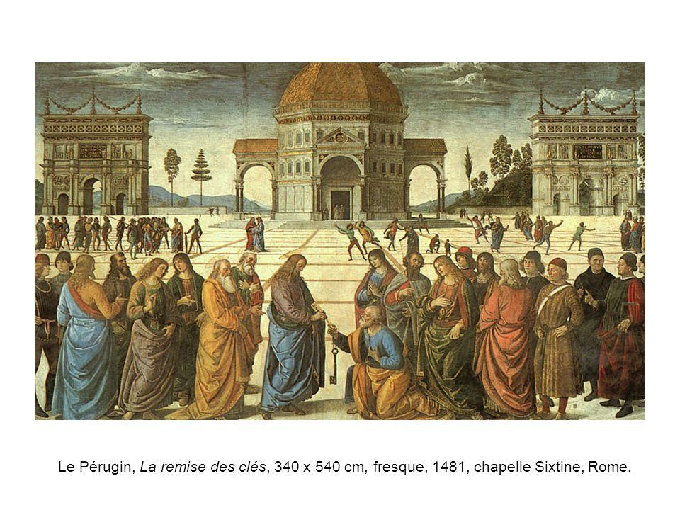 Le Pérugin, La remise des clés, 340 x 540 cm, fresque, 1481, chapelle Sixtine, Rome.