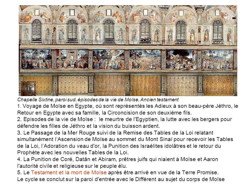 Chapelle Sixtine, paroi sud, épisodes de la vie de Moïse, Ancien testament 1.