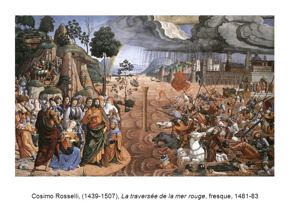 Cosimo Rosselli, (1439-1507), La traversée de la mer rouge, fresque, 1481-83
