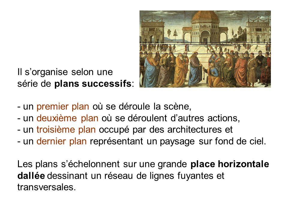 Il s'organise selon une série de plans successifs: - un premier plan où se déroule la scène, - un deuxième plan où se déroulent d'autres actions, - un troisième plan occupé par des architectures et - un dernier plan représentant un paysage sur fond de ciel.