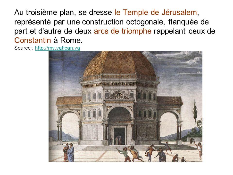 Au troisième plan, se dresse le Temple de Jérusalem, représenté par une construction octogonale, flanquée de part et d autre de deux arcs de triomphe rappelant ceux de Constantin à Rome.