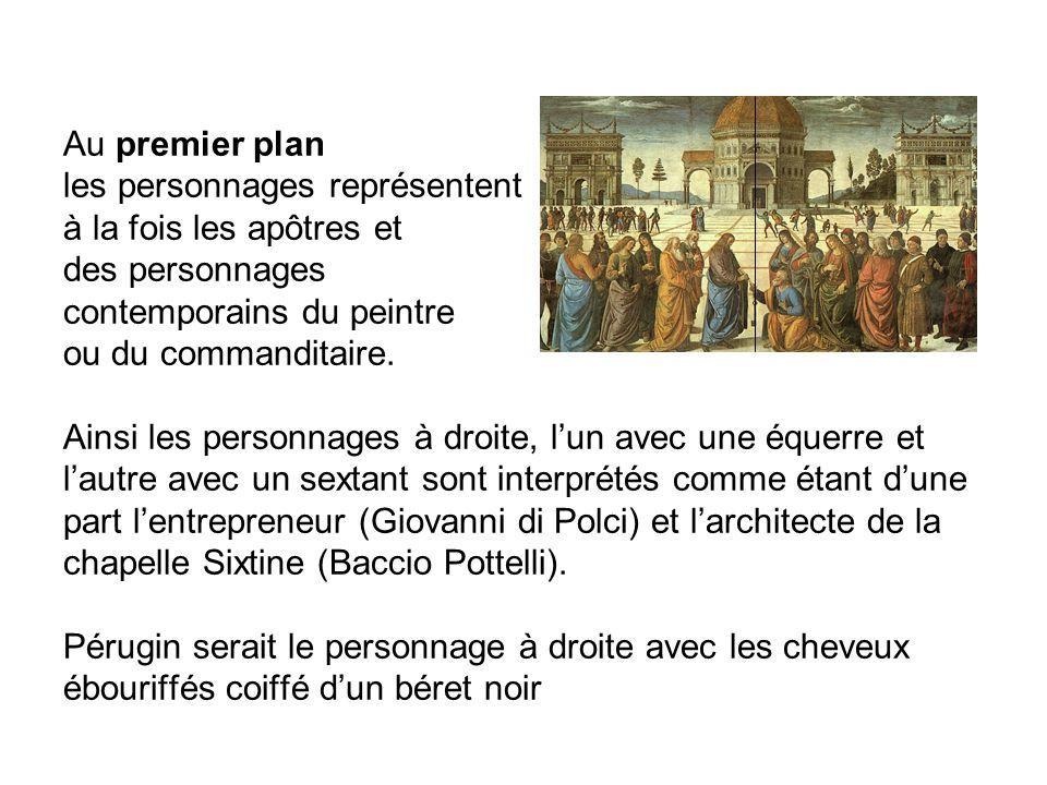 Au premier plan les personnages représentent à la fois les apôtres et des personnages contemporains du peintre ou du commanditaire.