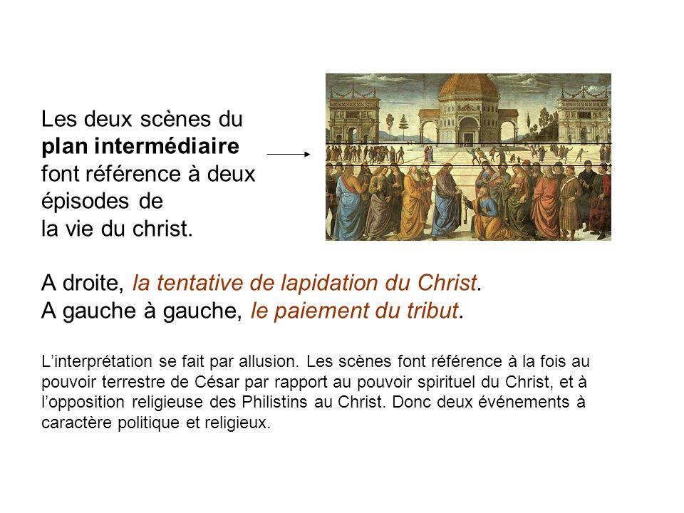 Les deux scènes du plan intermédiaire font référence à deux épisodes de la vie du christ.