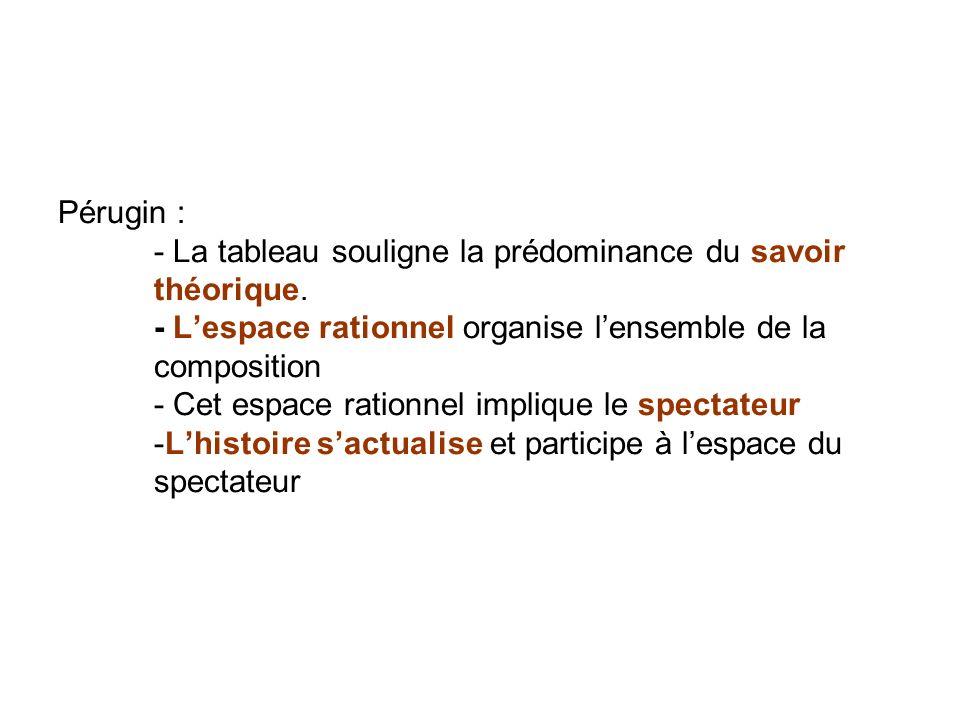 Pérugin :. - La tableau souligne la prédominance du savoir. théorique