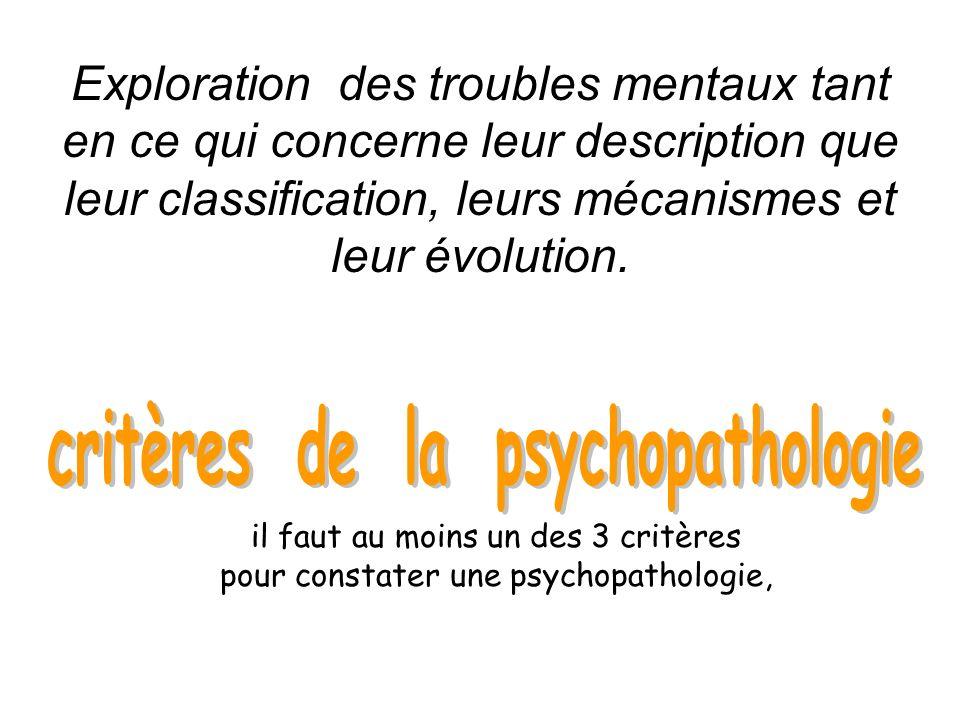critères de la psychopathologie