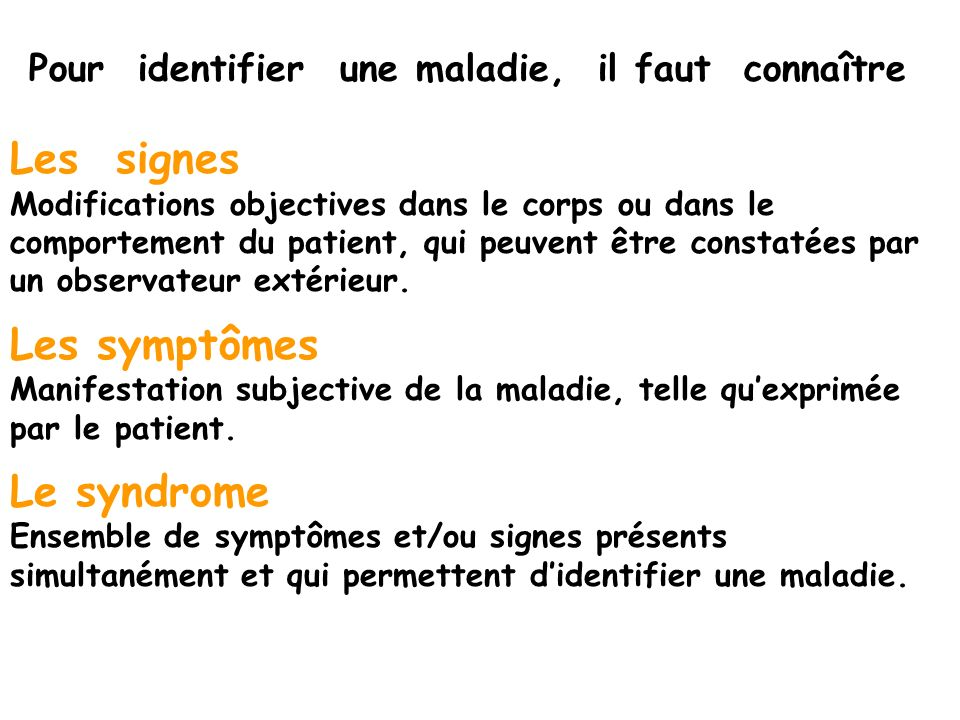 Les signes Les symptômes Le syndrome