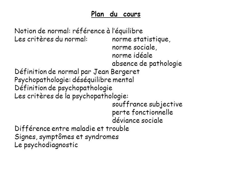 Plan du cours Notion de normal: référence à l'équilibre. Les critères du normal: norme statistique,