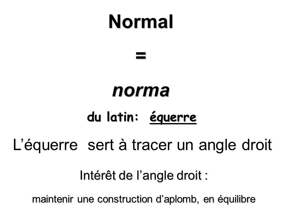 Normal = norma L'équerre sert à tracer un angle droit
