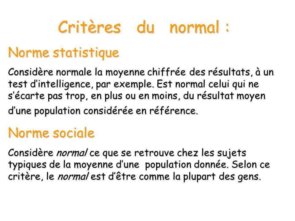 Critères du normal : Norme statistique Norme sociale