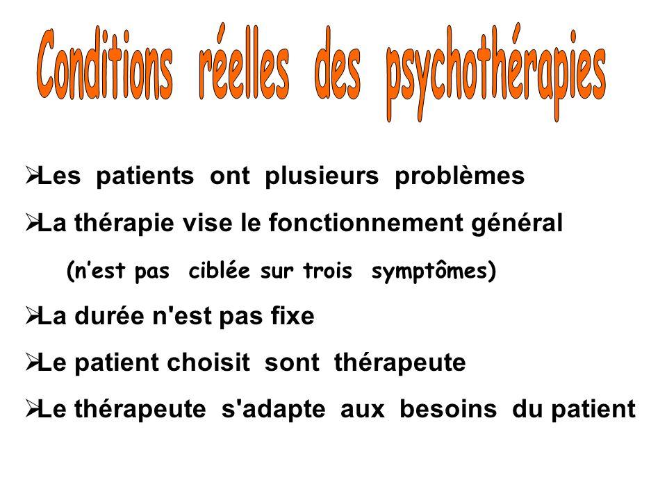 Conditions réelles des psychothérapies