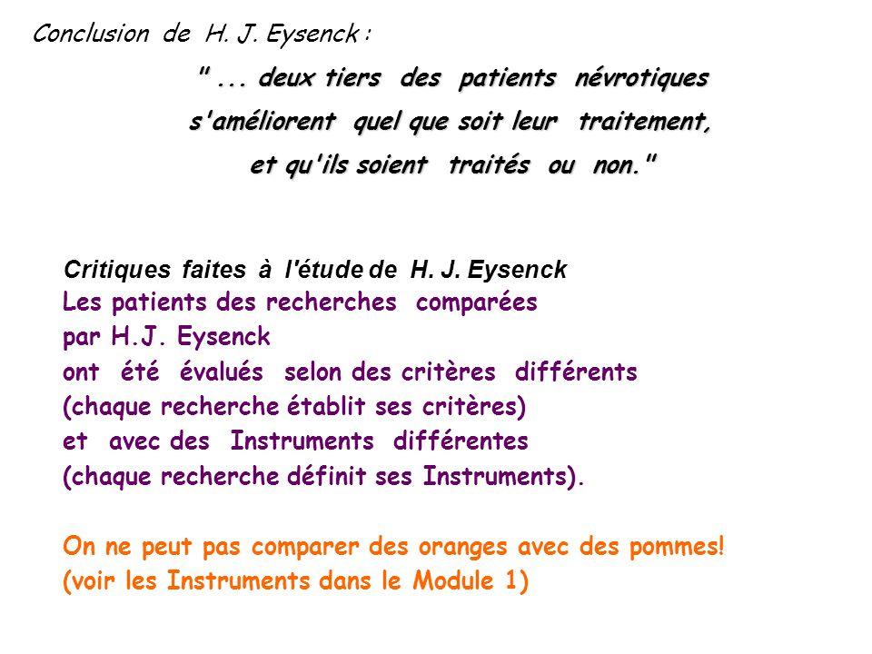 Conclusion de H. J. Eysenck :