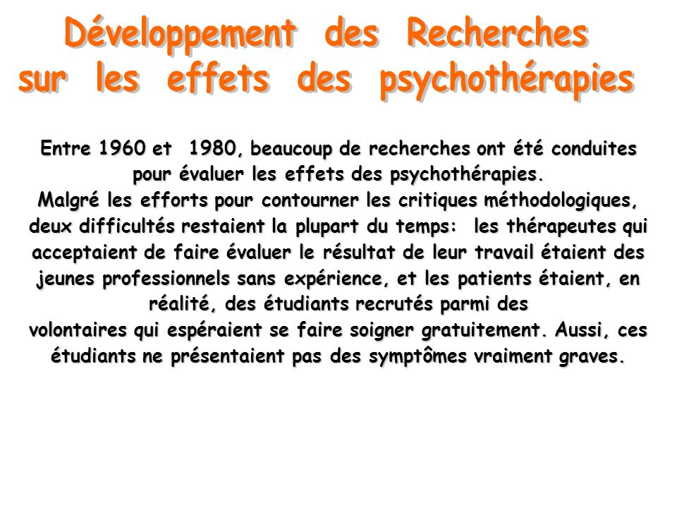Développement des Recherches sur les effets des psychothérapies