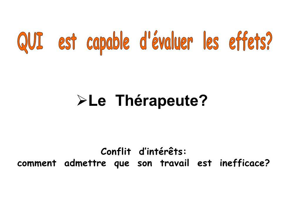 Le Thérapeute QUI est capable d évaluer les effets