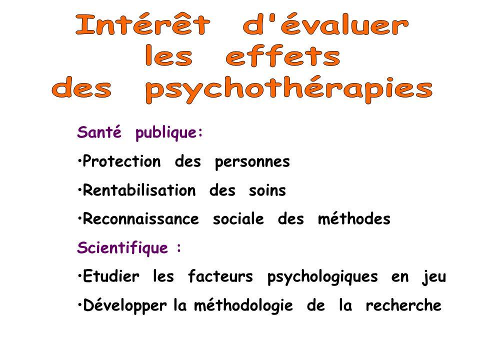 Intérêt d évaluer les effets des psychothérapies