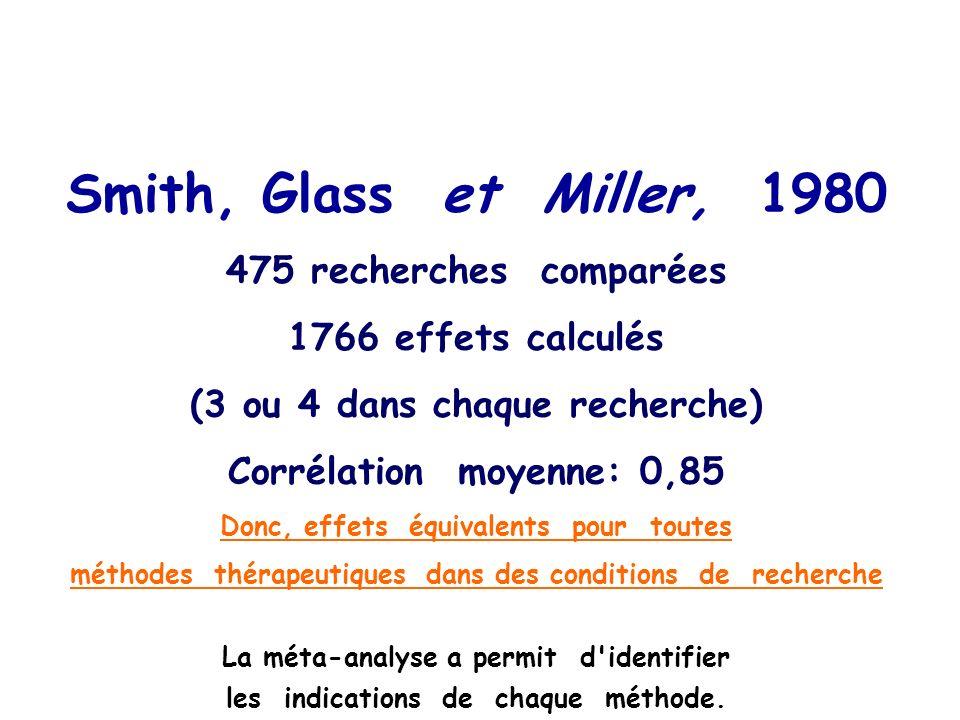 Smith, Glass et Miller, 1980 475 recherches comparées effets calculés