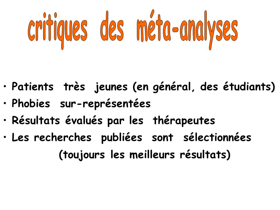 critiques des méta-analyses