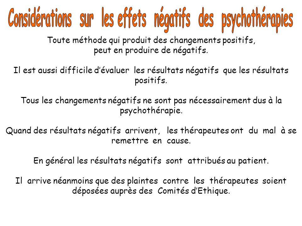 Considérations sur les effets négatifs des psychothérapies