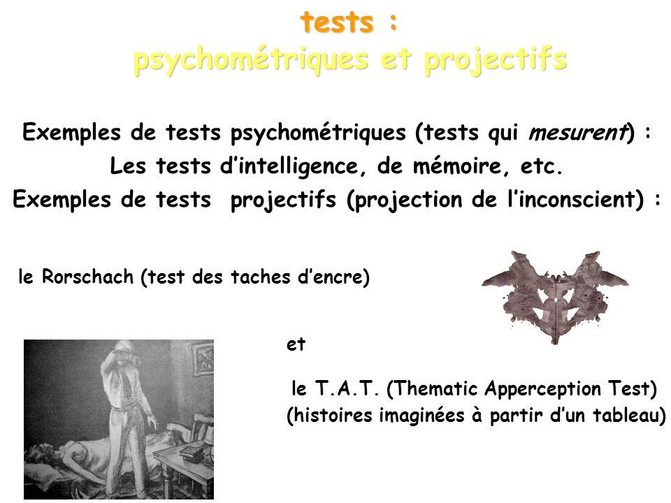 tests : psychométriques et projectifs