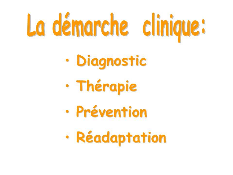 La démarche clinique: Diagnostic Thérapie Prévention Réadaptation