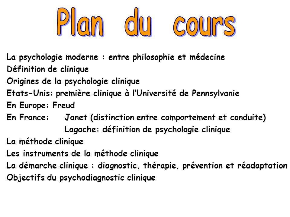 Plan du cours La psychologie moderne : entre philosophie et médecine