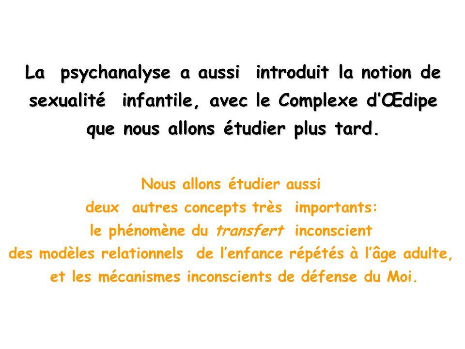La psychanalyse a aussi introduit la notion de sexualité infantile, avec le Complexe d'Œdipe que nous allons étudier plus tard.