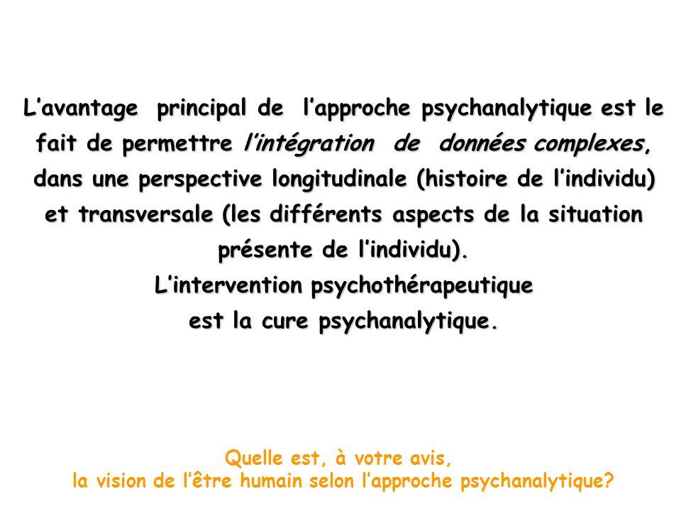 L'intervention psychothérapeutique est la cure psychanalytique.