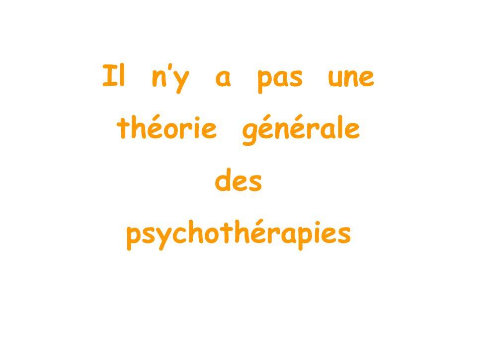 Il n'y a pas une théorie générale des psychothérapies