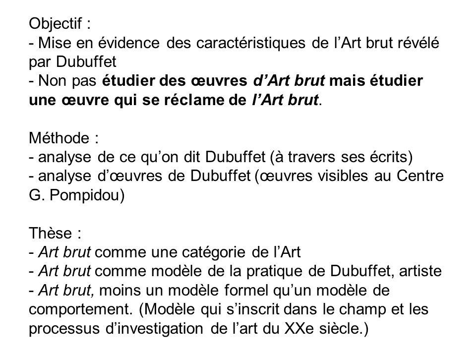 Objectif : - Mise en évidence des caractéristiques de l'Art brut révélé par Dubuffet - Non pas étudier des œuvres d'Art brut mais étudier une œuvre qui se réclame de l'Art brut.
