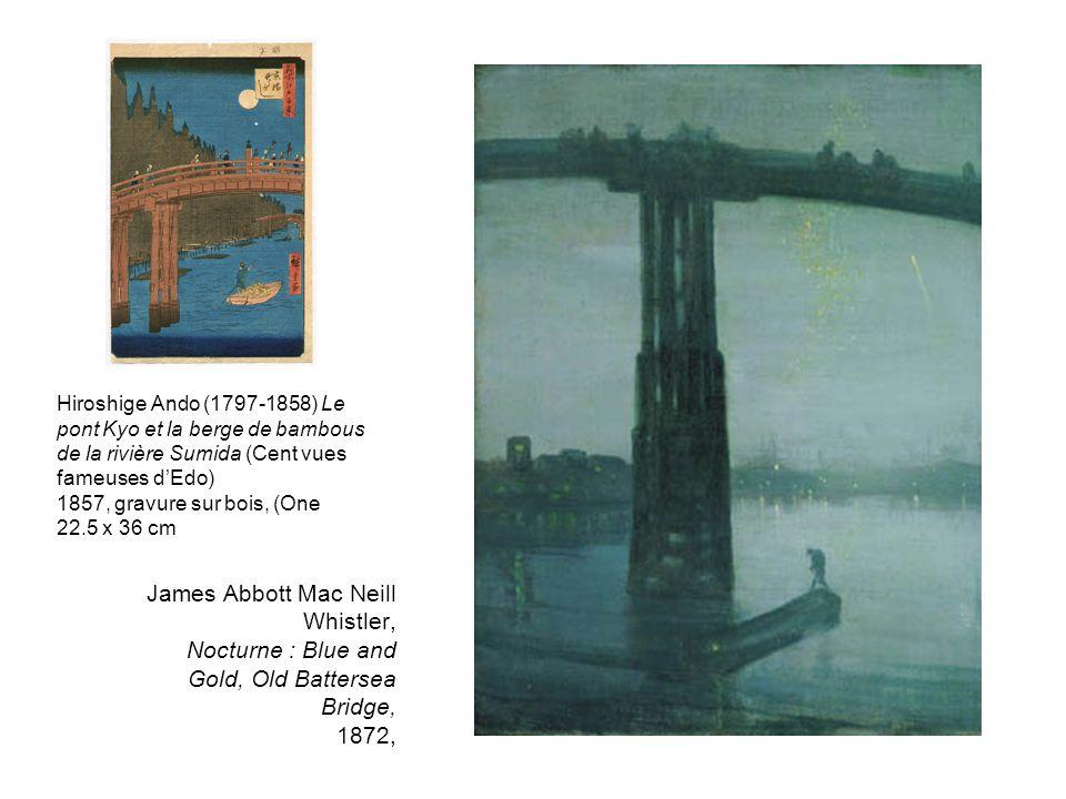 Hiroshige Ando (1797-1858) Le pont Kyo et la berge de bambous de la rivière Sumida (Cent vues fameuses d'Edo)